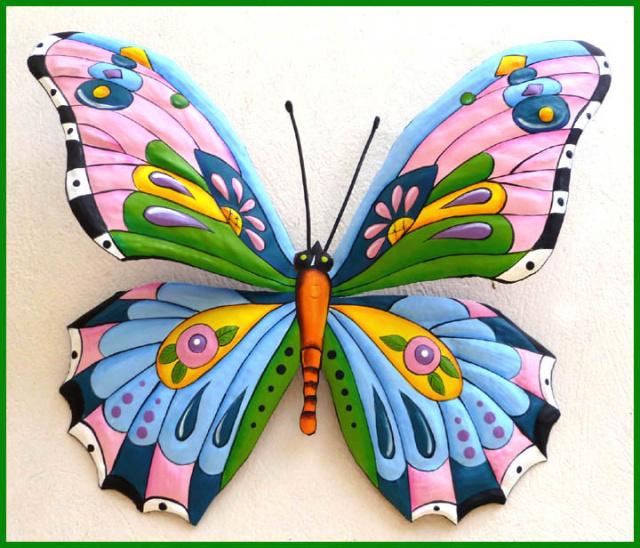 Butterfly Art Haitian Art Tropical Butterflies Painted Metal Wall Art Butterfly Wall Hangings Outdoor Garden Art 24