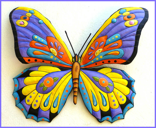 Painted Metal Butterfly Wall Hanging Tropical Art Tropical Decor Tropical Butterflies Metal Art Outdoor Garden Decor 19 X 24