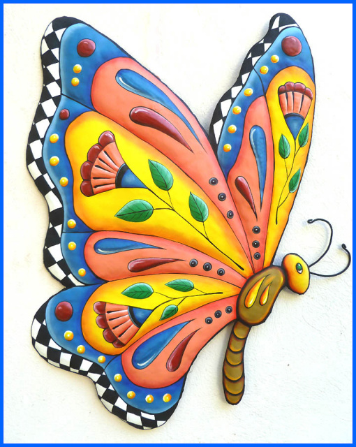 painted metal butterfly wall hanging