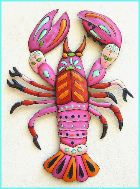 painted metal lobster wall hanging - nautical art
