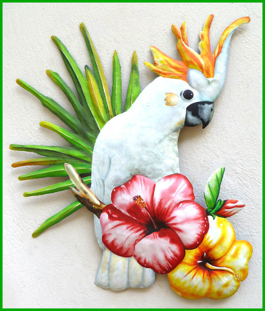 Cockatoo parrot wall hanging = hand painted metal