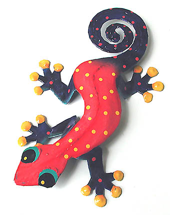 "Red - Blue Hand Painted Gecko Artwork - Steel Drum Metal Art - 11""x19"""