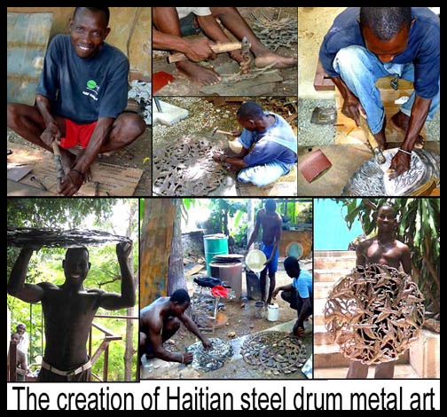 Haitian steel drum metal art - Tropic Accents