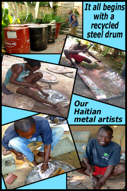 Haitian steel drum metal art - Tropica Accents