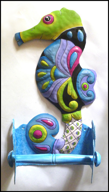 Hand painted seahorse toilet paper holder. Bathroom decor - Haitian steel drum metal art