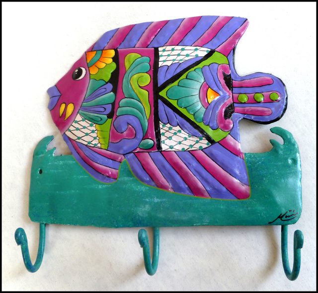 Painted metal tropical fish wall hook. bathroom