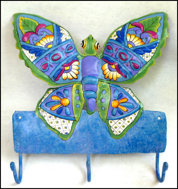 Butterfly Design Painted Metal Wall Hook
