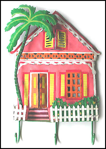 Handcrafted Haitian Art - Painted Metal Tropical Pink House Wall Hook ...