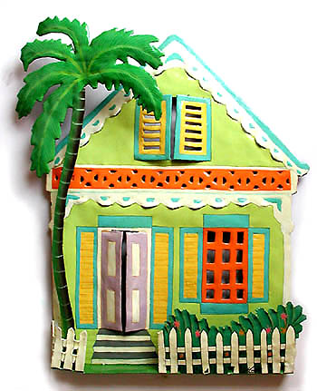 Painted Metal Gingerbread House Wall Hangings, Tropical Decor, Metal ...