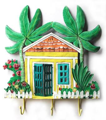 Painted Metal Caribbean Gingerbread House Wall Hook. Haitian Steel ...
