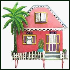 Caribbean house - painted metal hook