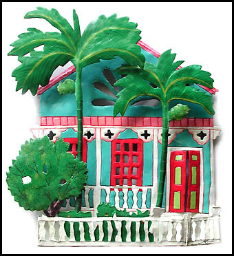 Painted metal Caribbean house - Handcrafted in Haiti