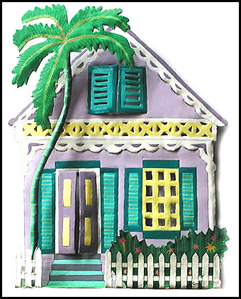 Painted Metal House Wall Hanging - Haitian Tropical Art from Recycled Steel Drums - 12