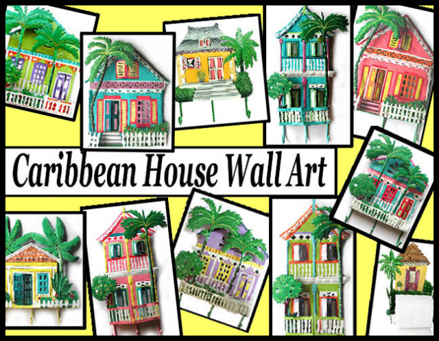 Metal Wall Art - Caribbean style houses