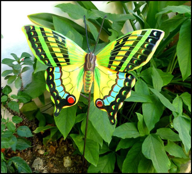 Painted metal butterfly plant stake