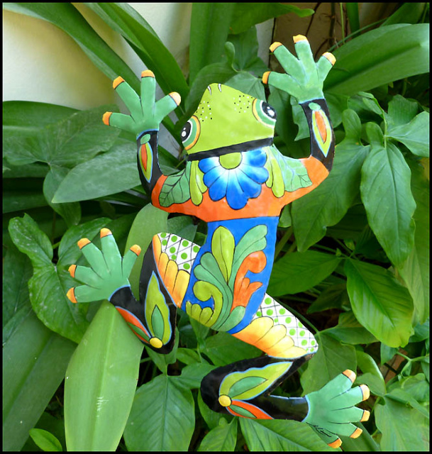 Frog garden art - painted metal frog plant stake