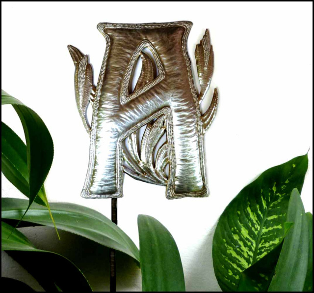 Hammered metal letter garden plant stake