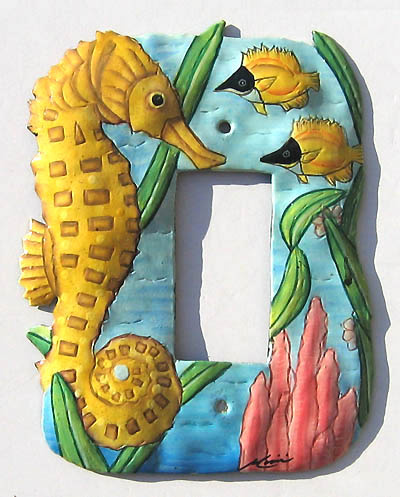 Hand painted metal seahorse switch plate cover - tropical decor