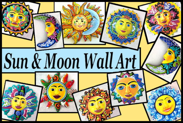 Sun And Moon Wall Art celestial sun and moon designs in hand painted metal - metal wall