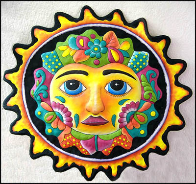 "17"" x 17"" Black Sun Design Hand Painted Metal Wall Hanging"