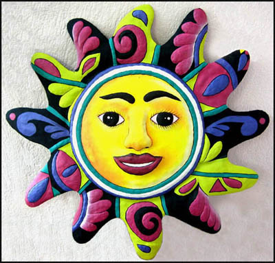 "17"" x 17"" Hand Painted Metal Sun Design Wall Hanging"