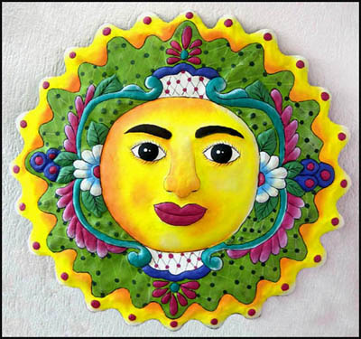 "24"" x 24"" Green Hand Painted Metal Sun Wall Decor - Haitian Metal Art"
