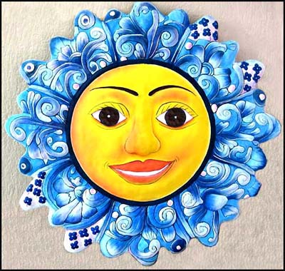 Hand Painted Metal Blue Sun Garden Art