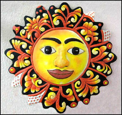 Hand Painted Metal Sun Patio Art