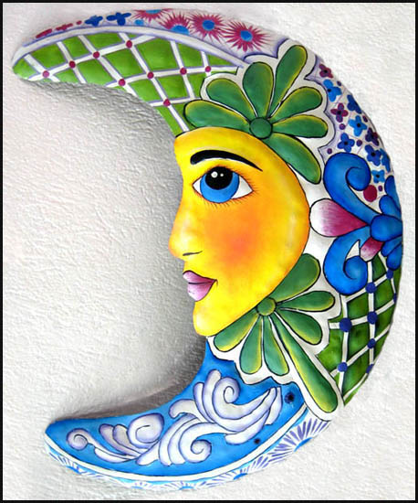 Painted Metal Moon Design - Wall Art
