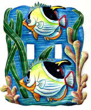 Painted metal switchplate cover - Tropical fish design