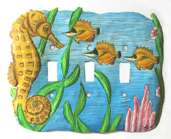 Painted Metal Light Switchplate - Seahorse design