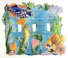 Hand painted metal light switchplate cover - Tropical fish design