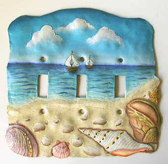 Painted metal switchplate cover - Sea shell design