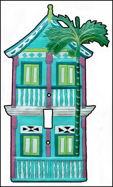 Hand Painted Metal 2 Story Caribbean Gingerbread House Light Switch ...