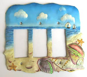 Hand painted metal switch plate cover - Shell design