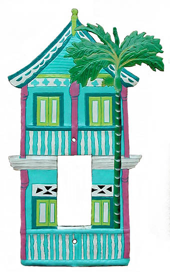 Painted Metal 2 Story Caribbean Gingerbread House Rocker Light Switch ...