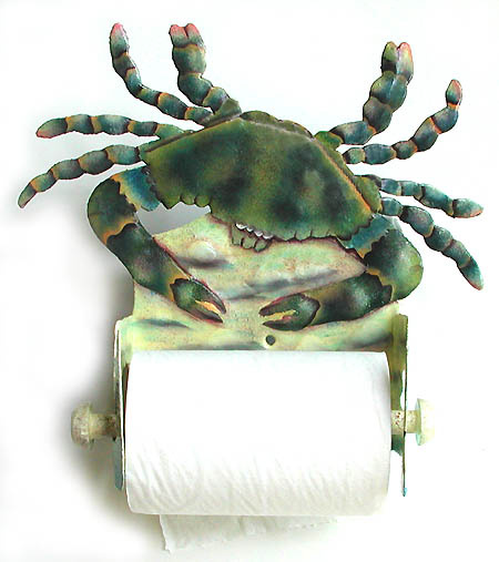 Toilet paper holder. Hand painted metal bathroom decor - blue crab