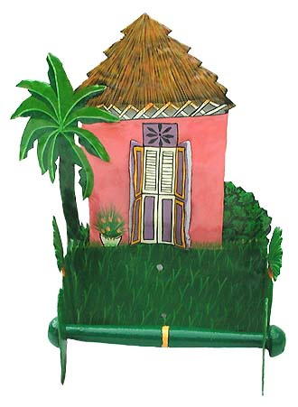 painted metal toilet paper holder - Caribbean house