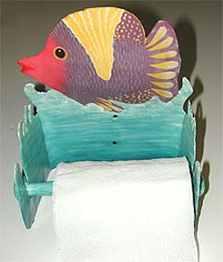 Toilet paper holder. Hand painted metal bathroom decor