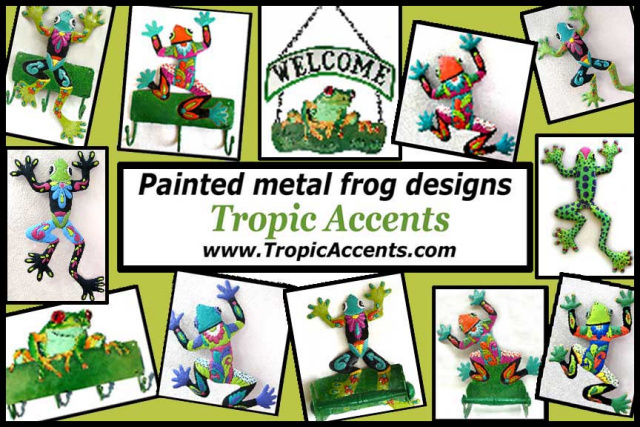 Hand painted metal frogs - Tropic Accents