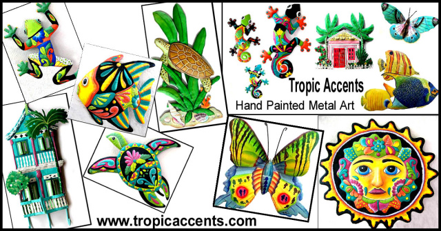 Tropic Accents - painted metal tropical home decor
