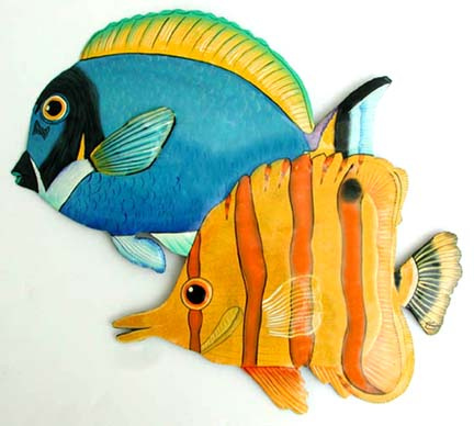 Fish Decor For Walls tropical fish metal art, metal wall art, tropical decor, tropical