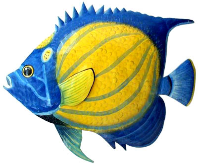 Painted Metal Blue Ringed Angelfish Tropical Fish Wall Hanging Hand
