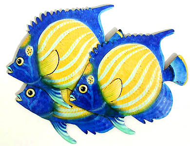 3 Blue Ringed Angelfish - Hand Painted Haitian Metal Art - Hand painted  metal tropical fish