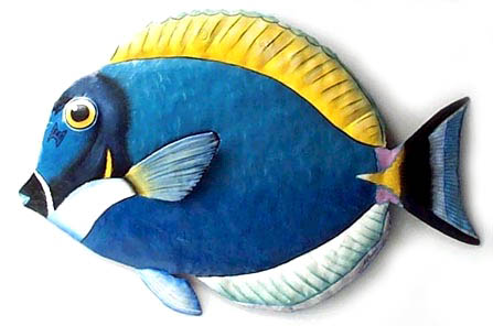 Hand Painted Metal Tropical Fish Haitian Recycled Steel Drums Outdoor Garden Decor Patio