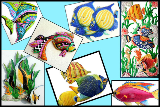 hand painted metal tropical fish wall decor. www.tropicaccents.com - Tropic Accents