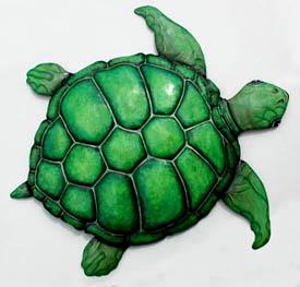 Hand Painted Metal Turtles Tropical Home Decor Metal Art Metal Wall Decor