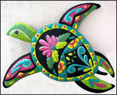 Hand painted metal turtle - Handcrafted in Haiti