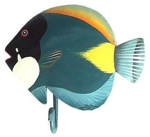 Hand Painted Metal Tropical Fish Wall Hooks - Tropical metal art ...