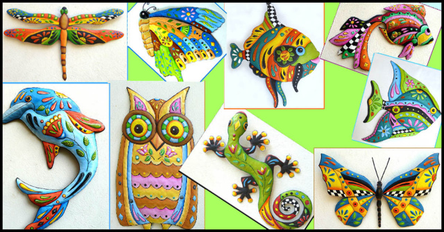 Hand painted metal wall decor from www.tropicaccents.com - Tropic Accents